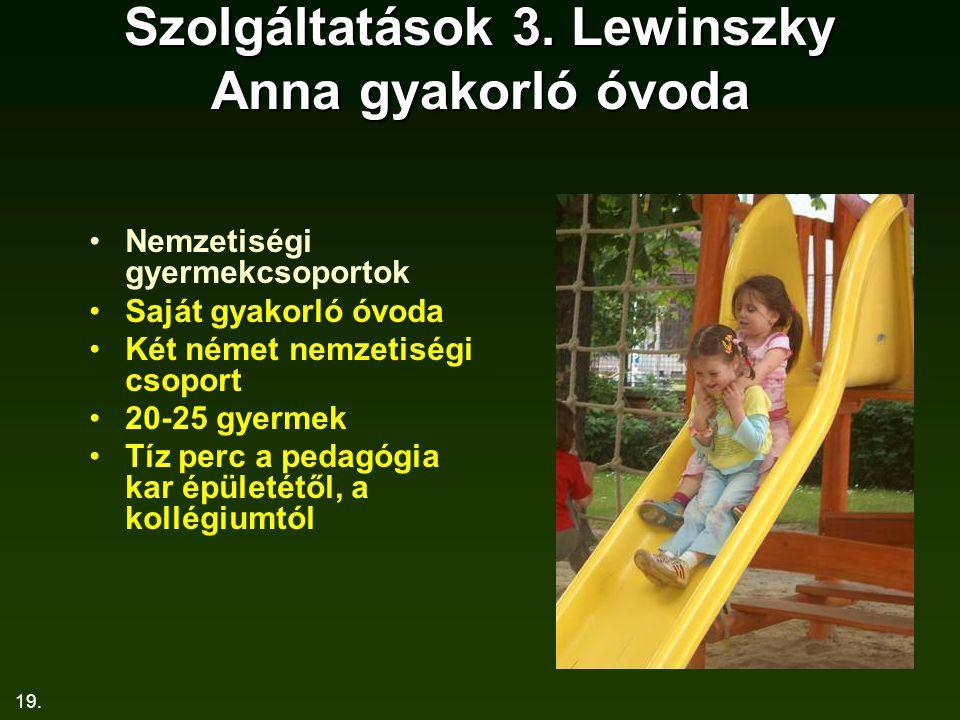19. Szolgáltatások 3. Lewinszky Anna gyakorló óvoda Nemzetiségi gyermekcsoportok Saját gyakorló óvoda Két német nemzetiségi csoport 20-25 gyermek Tíz