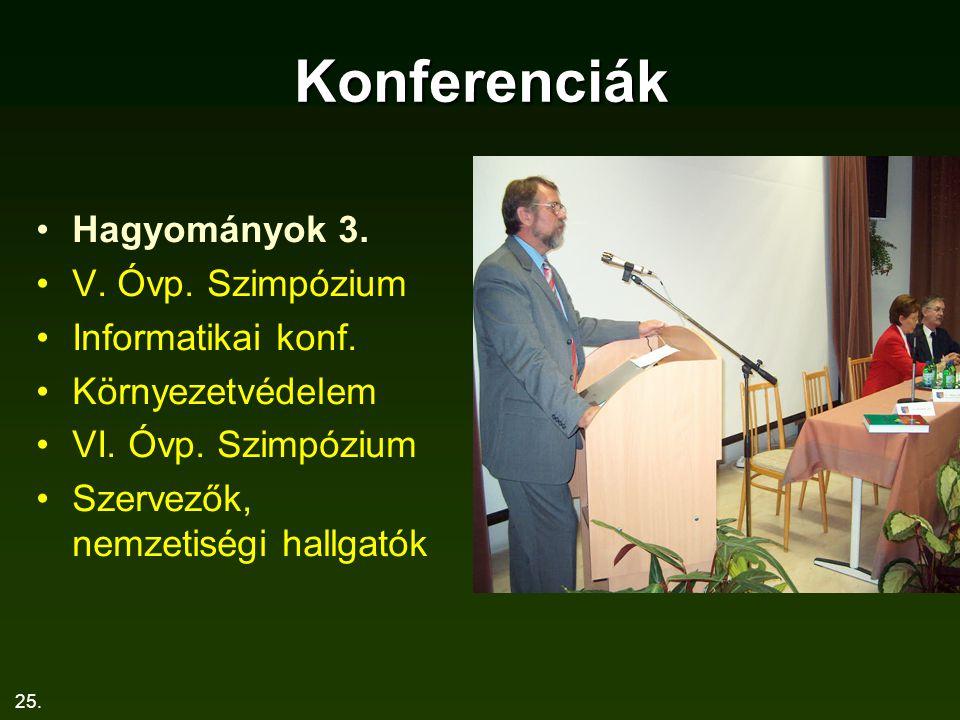 25. Konferenciák Hagyományok 3. V. Óvp. Szimpózium Informatikai konf. Környezetvédelem VI. Óvp. Szimpózium Szervezők, nemzetiségi hallgatók