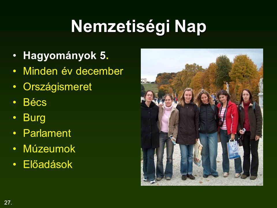 27. Nemzetiségi Nap Hagyományok 5. Minden év december Országismeret Bécs Burg Parlament Múzeumok Előadások