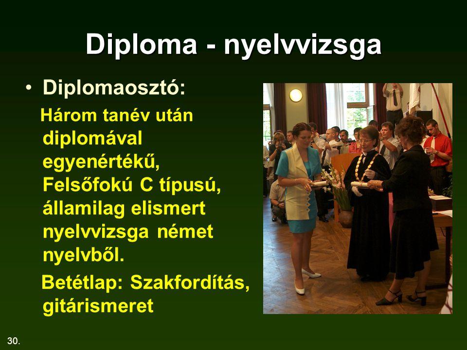 30. Diploma - nyelvvizsga Diplomaosztó: Három tanév után diplomával egyenértékű, Felsőfokú C típusú, államilag elismert nyelvvizsga német nyelvből. Be