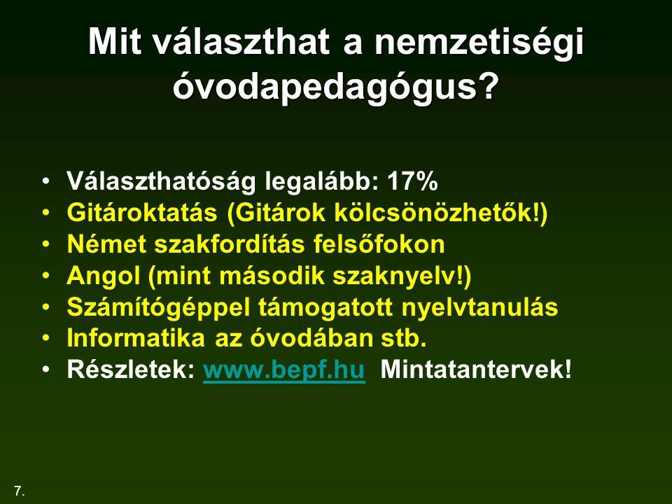 7. Mit választhat a nemzetiségi óvodapedagógus? Választhatóság legalább: 17% Gitároktatás (Gitárok kölcsönözhetők!) Német szakfordítás felsőfokon Ango