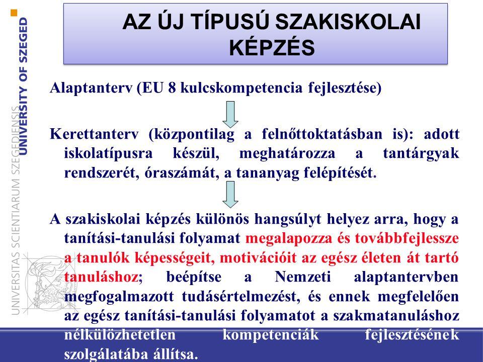 Alaptanterv (EU 8 kulcskompetencia fejlesztése) Kerettanterv (központilag a felnőttoktatásban is): adott iskolatípusra készül, meghatározza a tantárgyak rendszerét, óraszámát, a tananyag felépítését.