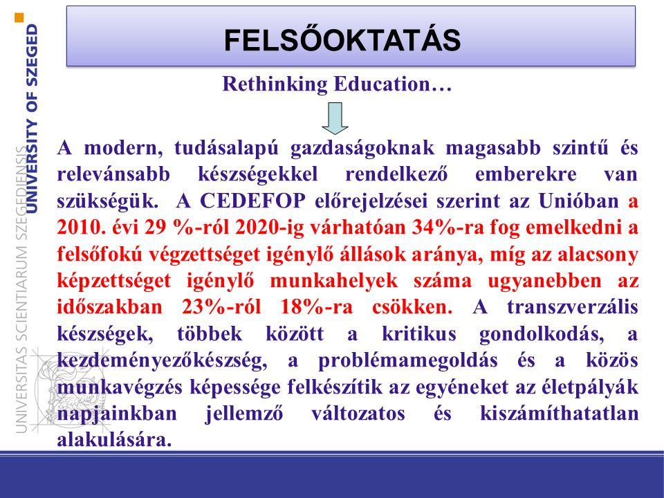 Rethinking Education… A modern, tudásalapú gazdaságoknak magasabb szintű és relevánsabb készségekkel rendelkező emberekre van szükségük.