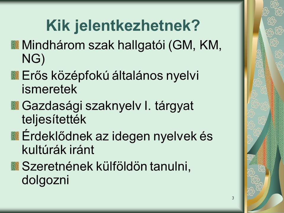 3 Kik jelentkezhetnek? Mindhárom szak hallgatói (GM, KM, NG) Erős középfokú általános nyelvi ismeretek Gazdasági szaknyelv I. tárgyat teljesítették Ér