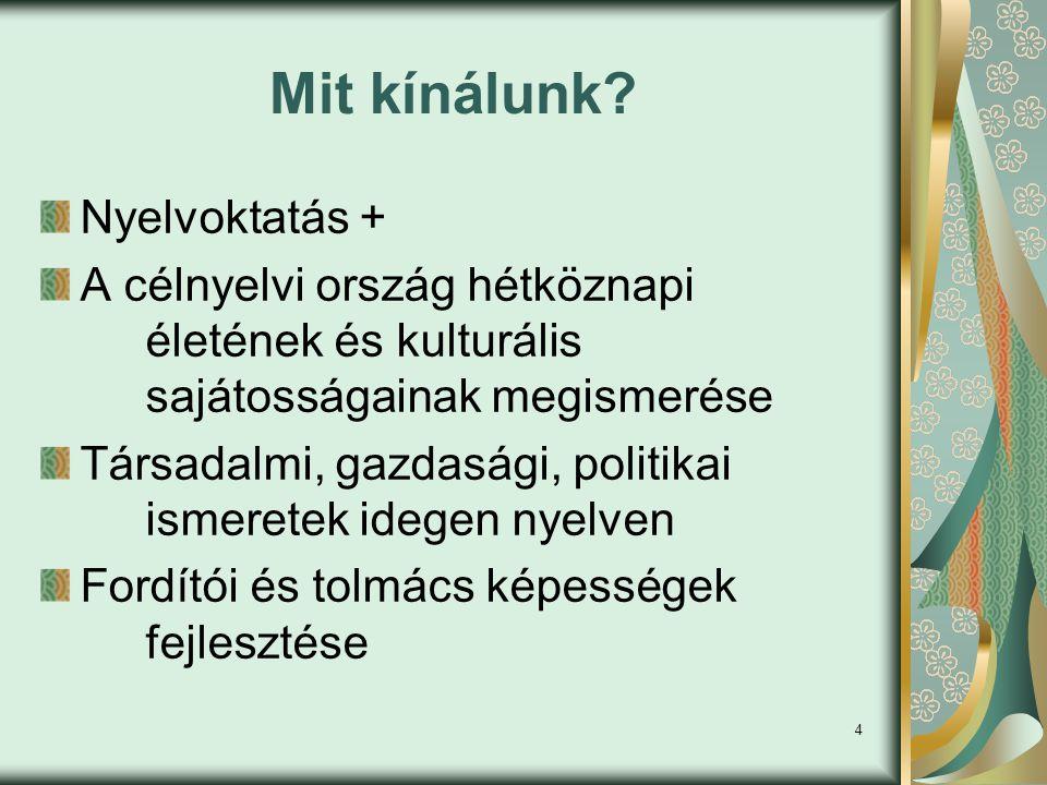 5 Szakiránytárgyak IV.Félév V. félév VI.