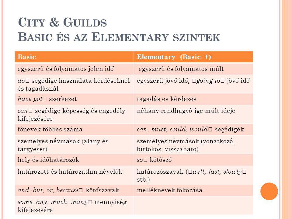 C ITY & G UILDS B ASIC ÉS AZ E LEMENTARY SZINTEK BasicElementary (Basic +) egyszerű és folyamatos jelen idő egyszerű és folyamatos múlt do ' segédige