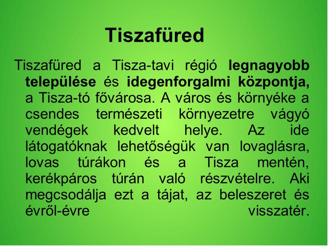 Tiszafüred Tiszafüred a Tisza-tavi régió legnagyobb települése és idegenforgalmi központja, a Tisza-tó fővárosa.