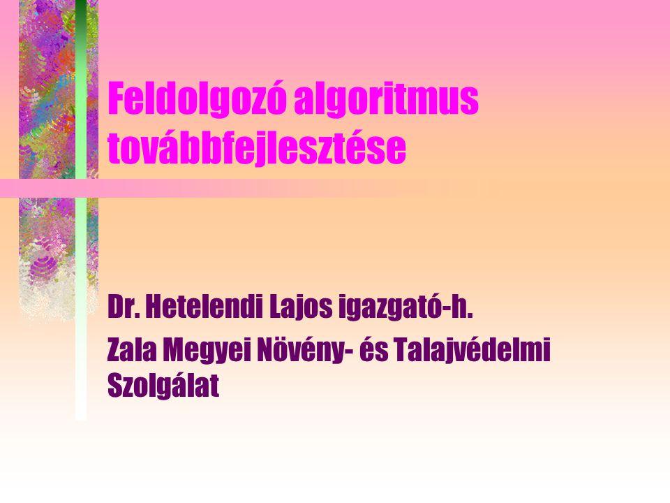 Feldolgozó algoritmus továbbfejlesztése Dr. Hetelendi Lajos igazgató-h.