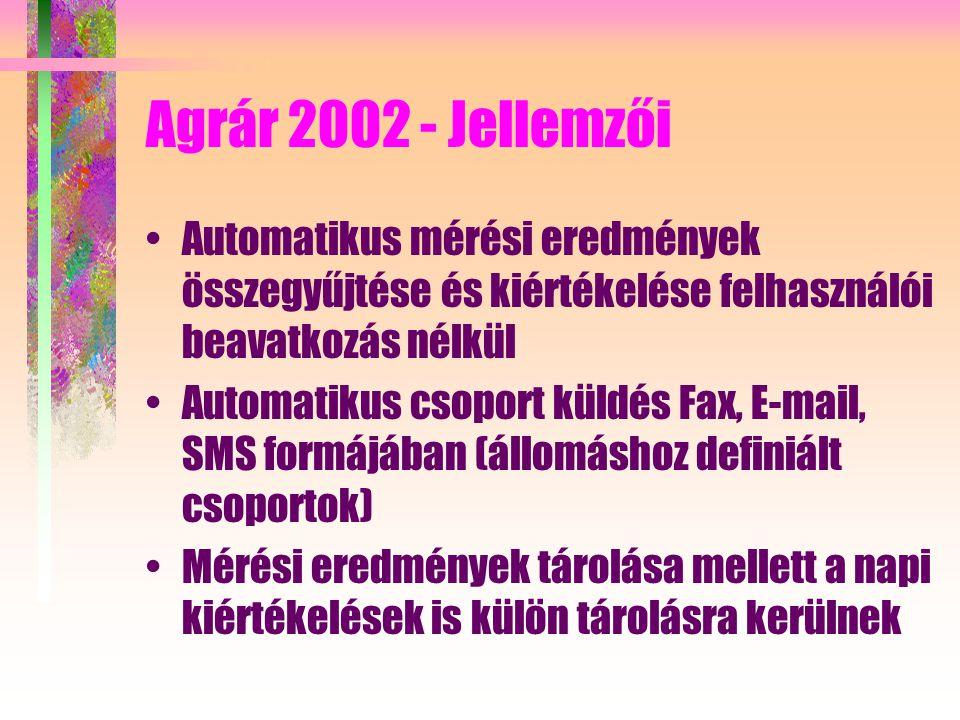 Agrár 2002 - Jellemzői Automatikus mérési eredmények összegyűjtése és kiértékelése felhasználói beavatkozás nélkül Automatikus csoport küldés Fax, E-mail, SMS formájában (állomáshoz definiált csoportok) Mérési eredmények tárolása mellett a napi kiértékelések is külön tárolásra kerülnek
