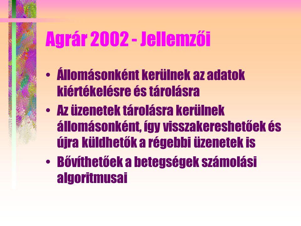 Agrár 2002 - Jellemzői Állomásonként kerülnek az adatok kiértékelésre és tárolásra Az üzenetek tárolásra kerülnek állomásonként, így visszakereshetőek és újra küldhetők a régebbi üzenetek is Bővíthetőek a betegségek számolási algoritmusai