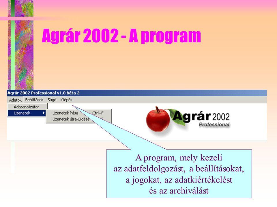 Agrár 2002 - A program A program, mely kezeli az adatfeldolgozást, a beállításokat, a jogokat, az adatkiértékelést és az archiválást