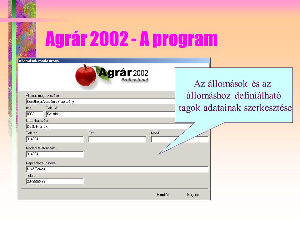 Agrár 2002 - A program Az állomások és az állomáshoz definiálható tagok adatainak szerkesztése