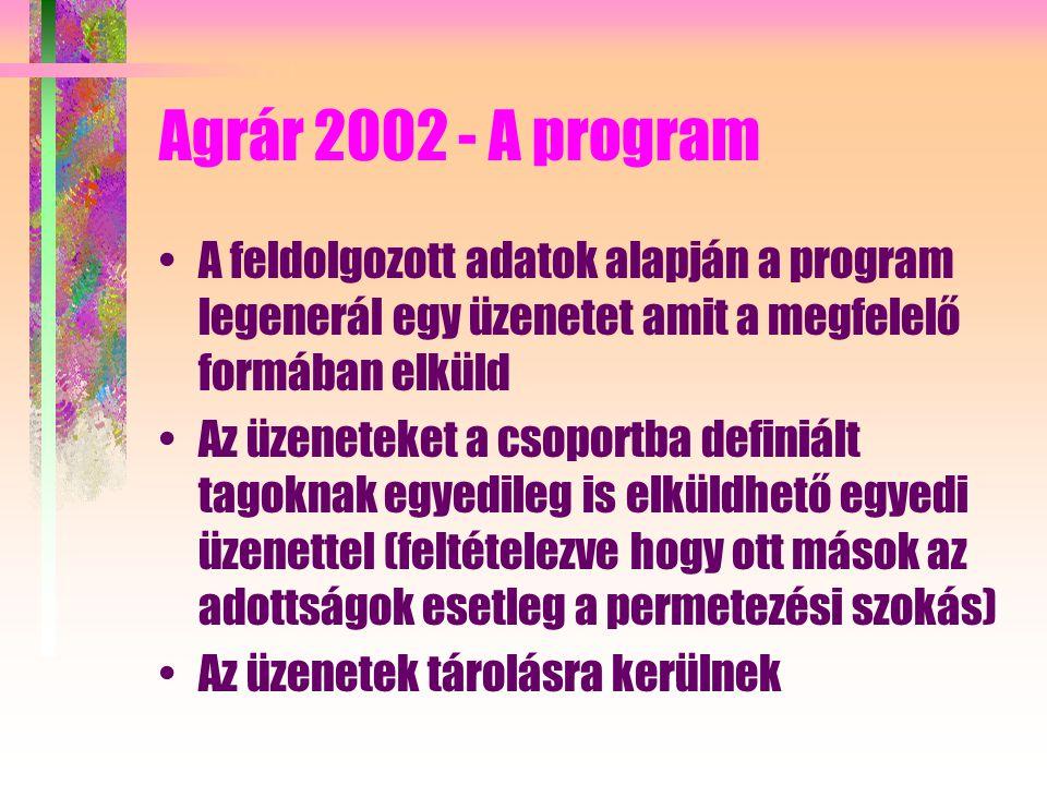 Agrár 2002 - A program A feldolgozott adatok alapján a program legenerál egy üzenetet amit a megfelelő formában elküld Az üzeneteket a csoportba definiált tagoknak egyedileg is elküldhető egyedi üzenettel (feltételezve hogy ott mások az adottságok esetleg a permetezési szokás) Az üzenetek tárolásra kerülnek
