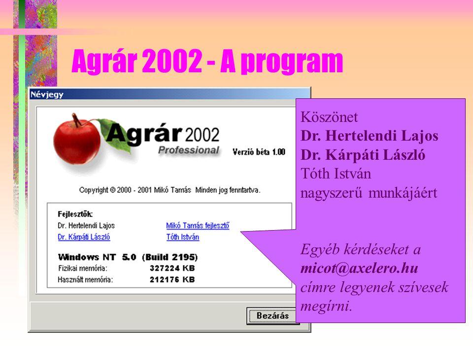 Agrár 2002 - A program Köszönet Dr. Hertelendi Lajos Dr.