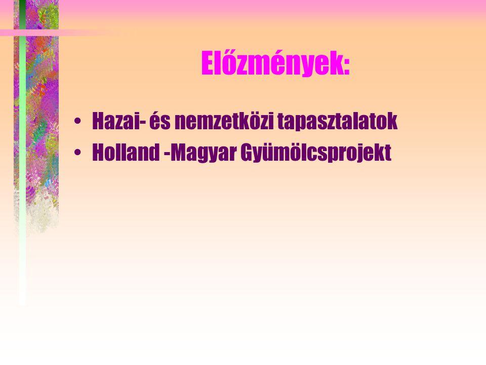 Előzmények: Hazai- és nemzetközi tapasztalatok Holland -Magyar Gyümölcsprojekt