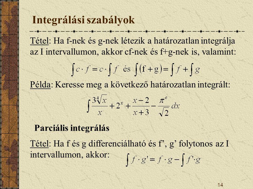 14 Integrálási szabályok Tétel: Ha f-nek és g-nek létezik a határozatlan integrálja az I intervallumon, akkor cf-nek és f+g-nek is, valamint: Példa: K