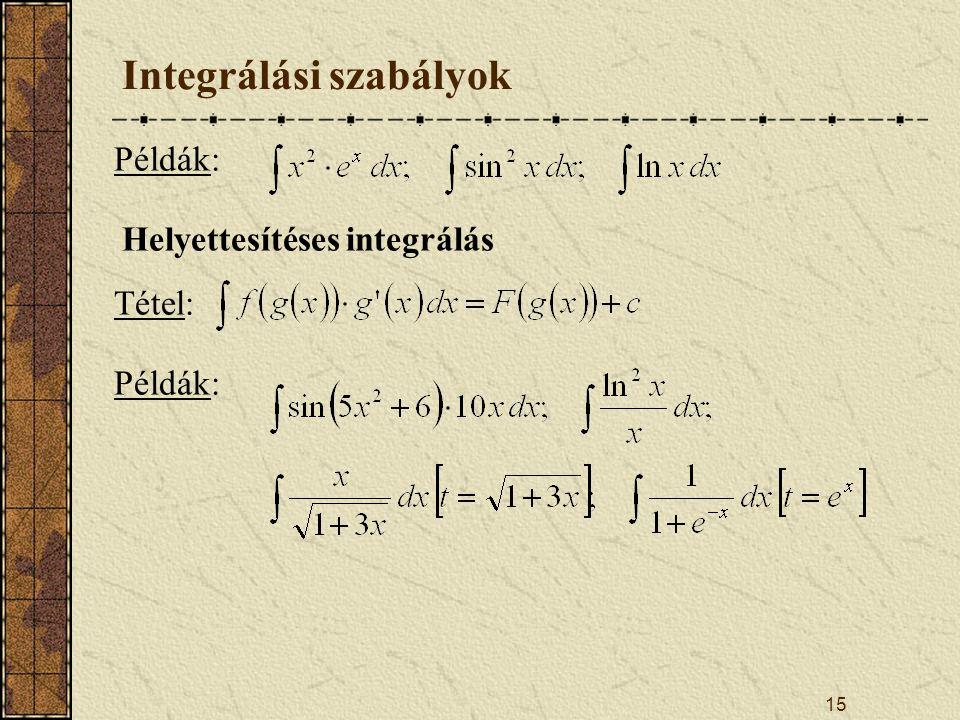 15 Integrálási szabályok Példák: Helyettesítéses integrálás Tétel: Példák: