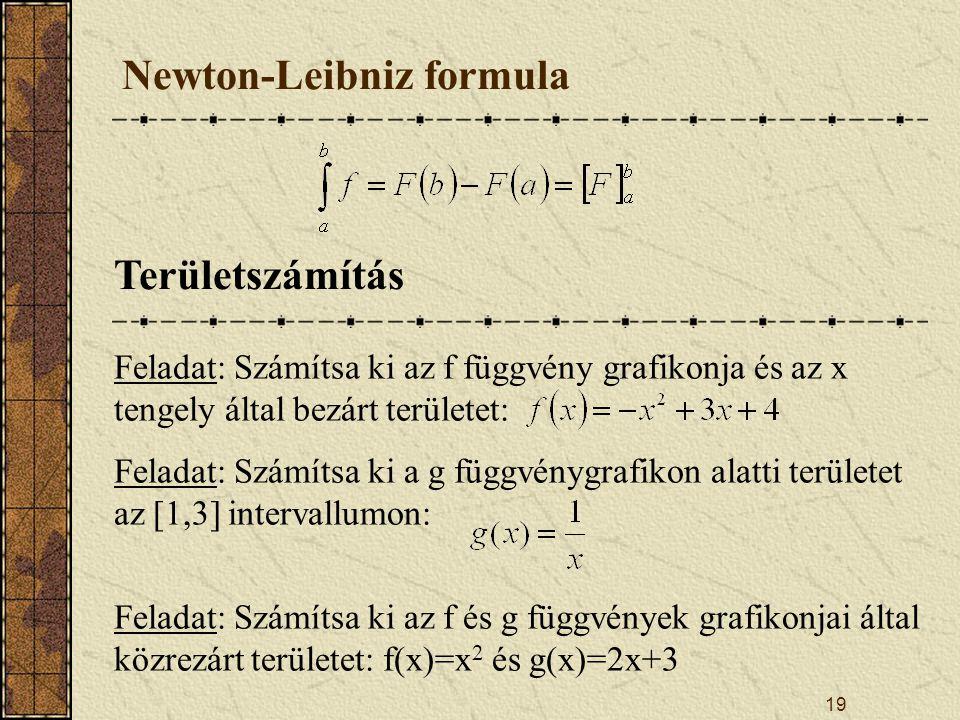 19 Newton-Leibniz formula Területszámítás Feladat: Számítsa ki az f függvény grafikonja és az x tengely által bezárt területet: Feladat: Számítsa ki a