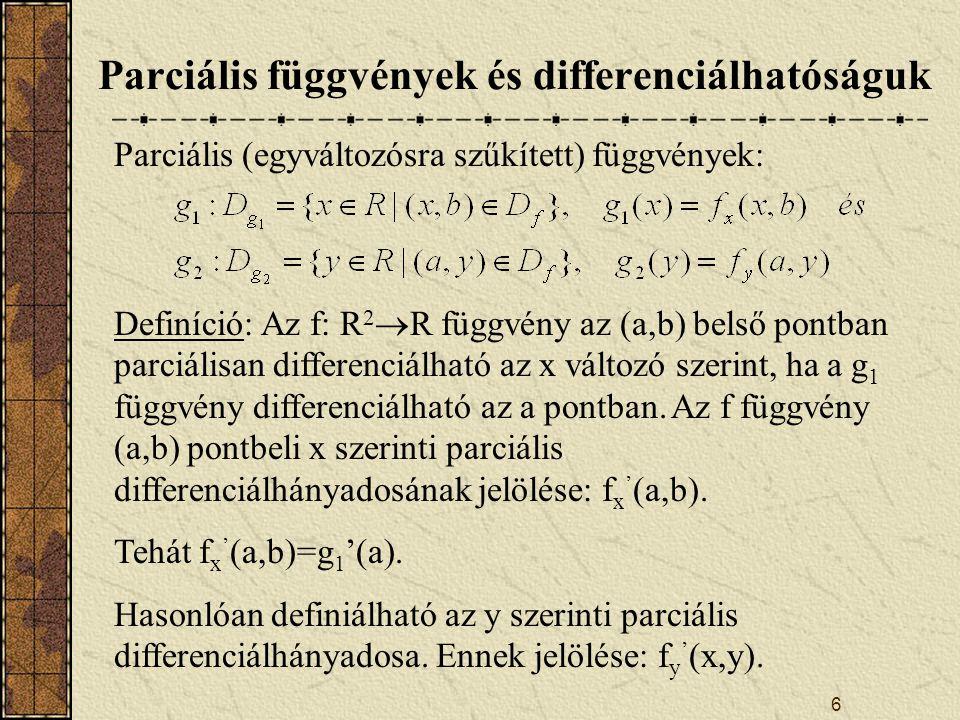 7 Parciális deriváltfüggvények Definíció: Ha az f függvény az A halmaz minden pontjában parciálisan differenciálható az x változó szerint, akkor a függvény x szerinti parciális deriváltfüggvénye az A halmaz minden pontjához hozzárendeli az f függvény x szerinti parciális differenciálhányadosát.
