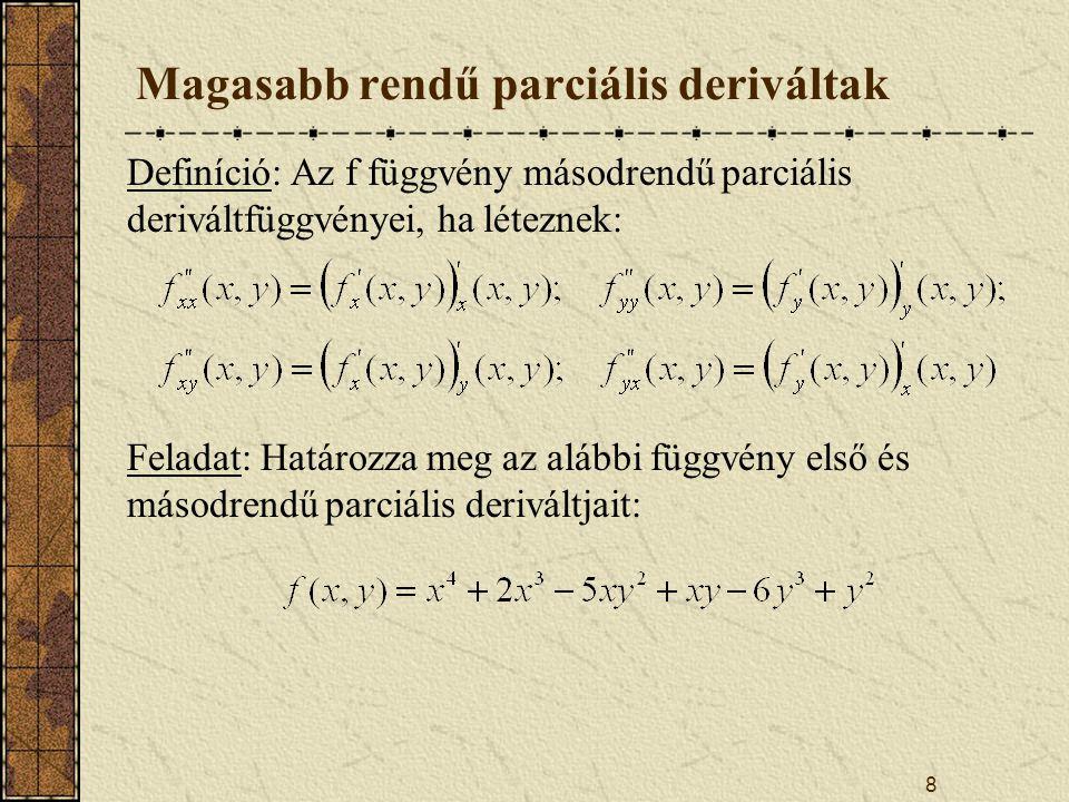 8 Magasabb rendű parciális deriváltak Definíció: Az f függvény másodrendű parciális deriváltfüggvényei, ha léteznek: Feladat: Határozza meg az alábbi