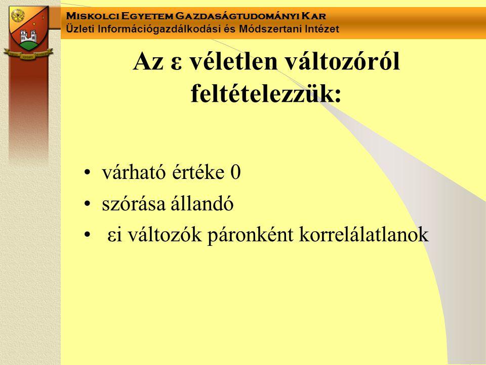Miskolci Egyetem Gazdaságtudományi Kar Üzleti Információgazdálkodási és Módszertani Intézet Az ε véletlen változóról feltételezzük: várható értéke 0 s