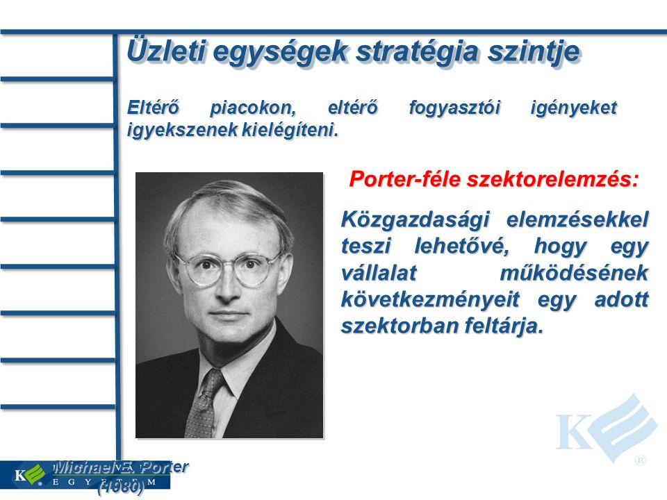 Üzleti egységek stratégia szintje Eltérő piacokon, eltérő fogyasztói igényeket igyekszenek kielégíteni. Michael E. Porter (1980) Porter-féle szektorel