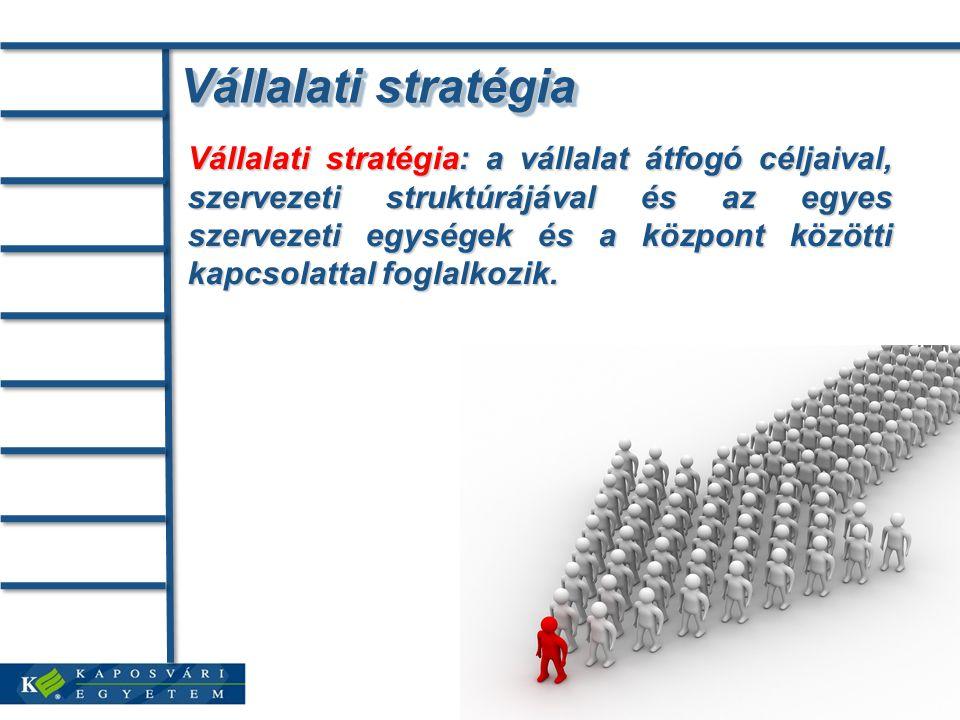 Vállalati stratégia Vállalati stratégia: a vállalat átfogó céljaival, szervezeti struktúrájával és az egyes szervezeti egységek és a központ közötti k