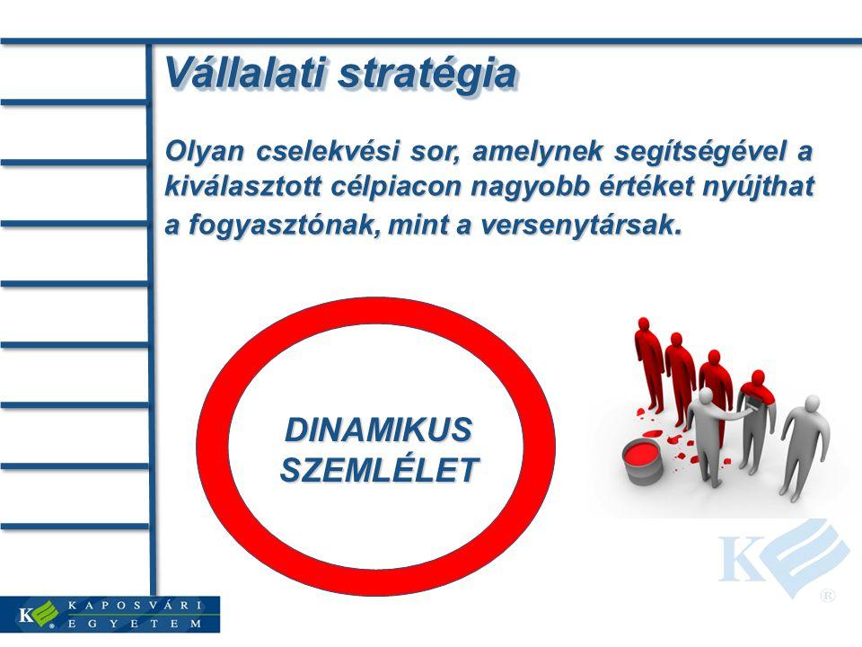 Vállalati stratégia Olyan cselekvési sor, amelynek segítségével a kiválasztott célpiacon nagyobb értéket nyújthat a fogyasztónak, mint a versenytársak