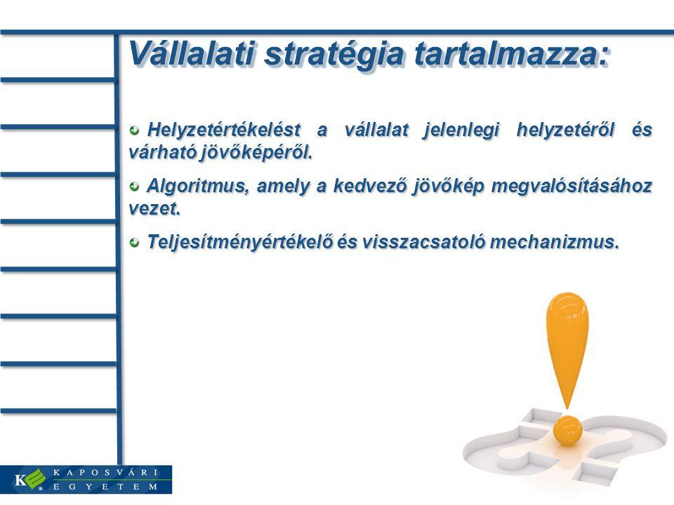 Vállalati stratégia tartalmazza: Helyzetértékelést a vállalat jelenlegi helyzetéről és várható jövőképéről. Helyzetértékelést a vállalat jelenlegi hel