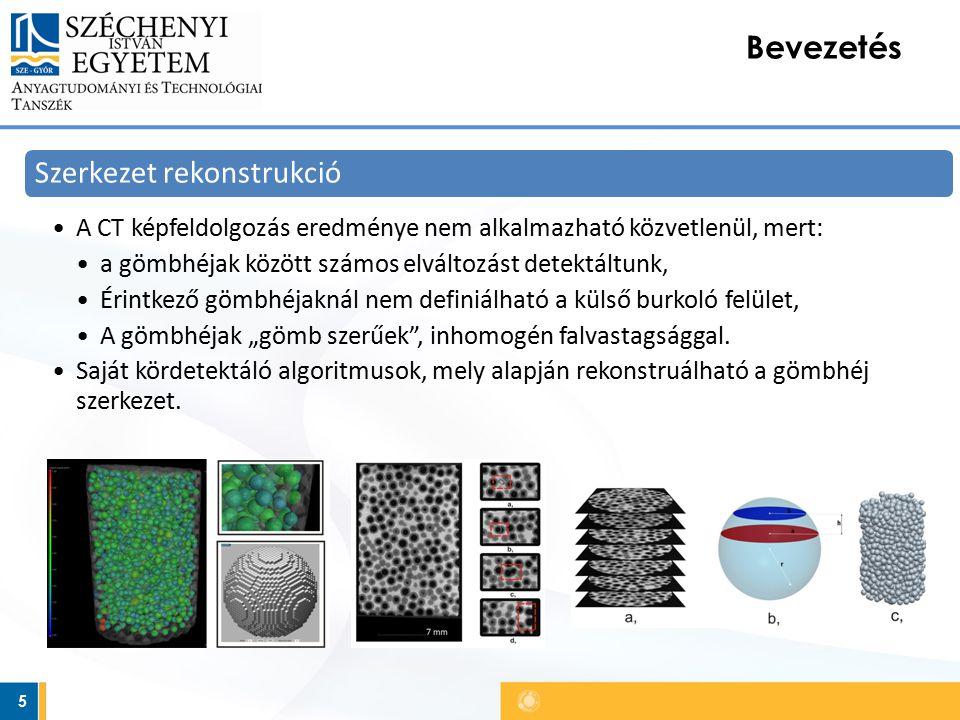 5 Bevezetés Szerkezet rekonstrukció A CT képfeldolgozás eredménye nem alkalmazható közvetlenül, mert: a gömbhéjak között számos elváltozást detektáltu