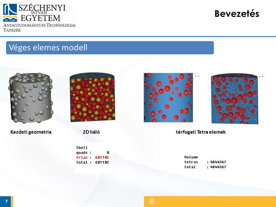7 Bevezetés Véges elemes modell Kezdeti geometria2D hálótérfogati Tetra elemek