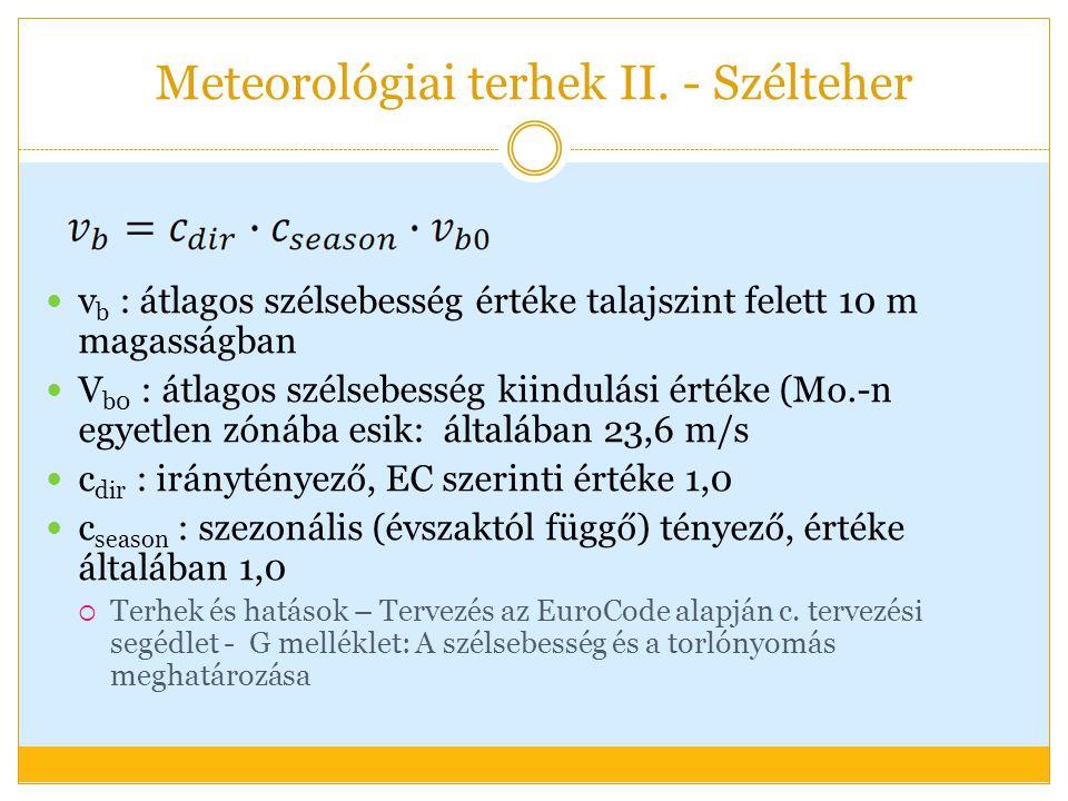 v b : átlagos szélsebesség értéke talajszint felett 10 m magasságban V b0 : átlagos szélsebesség kiindulási értéke (Mo.-n egyetlen zónába esik: általában 23,6 m/s c dir : iránytényező, EC szerinti értéke 1,0 c season : szezonális (évszaktól függő) tényező, értéke általában 1,0  Terhek és hatások – Tervezés az EuroCode alapján c.