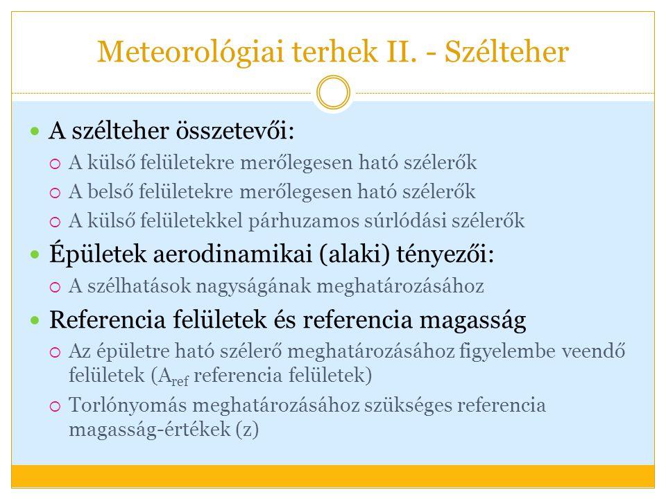 Meteorológiai terhek II.- Szélteher Felületi szélnyomás:  A felületi szélnyomást ill.