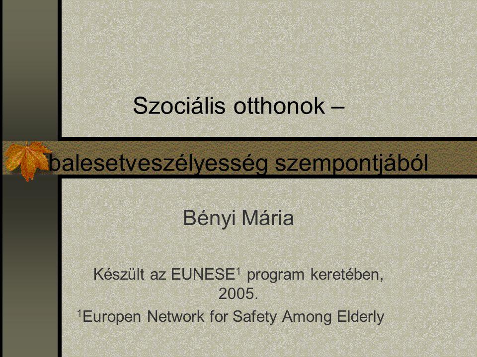 Szociális otthonok – balesetveszélyesség szempontjából Bényi Mária Készült az EUNESE 1 program keretében, 2005. 1 Europen Network for Safety Among Eld