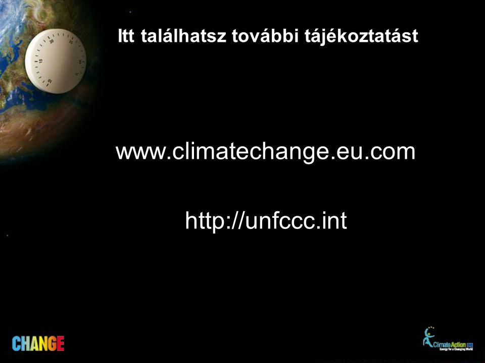 Itt találhatsz további tájékoztatást www.climatechange.eu.com http://unfccc.int