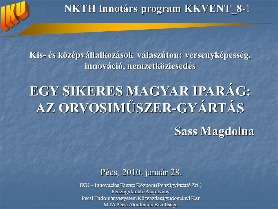 Kis- és középvállalkozások válaszúton: versenyképesség, innováció, nemzetköziesedés EGY SIKERES MAGYAR IPARÁG: AZ ORVOSIMŰSZER-GYÁRTÁS Sass Magdolna Pécs, 2010.