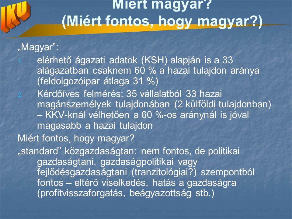 """Miért magyar? (Miért fontos, hogy magyar?) """"Magyar"""": 1. 1. elérhető ágazati adatok (KSH) alapján is a 33 alágazatban csaknem 60 % a hazai tulajdon ará"""