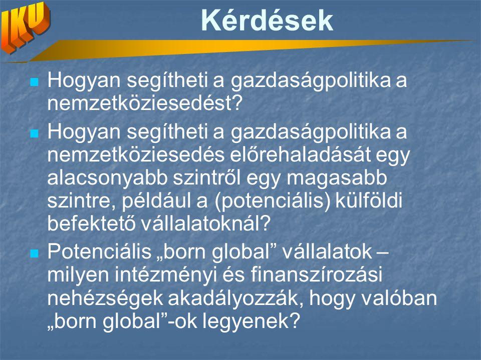 Kérdések Hogyan segítheti a gazdaságpolitika a nemzetköziesedést.