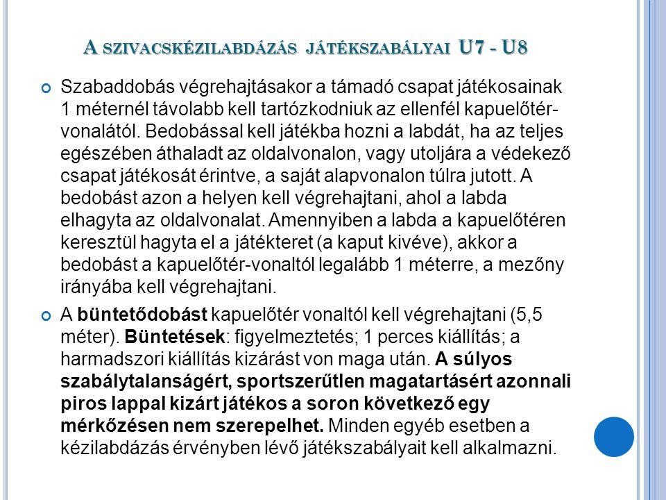 A SZIVACSKÉZILABDÁZÁS JÁTÉKSZABÁLYAI U7 - U8 Szabaddobás végrehajtásakor a támadó csapat játékosainak 1 méternél távolabb kell tartózkodniuk az ellenf