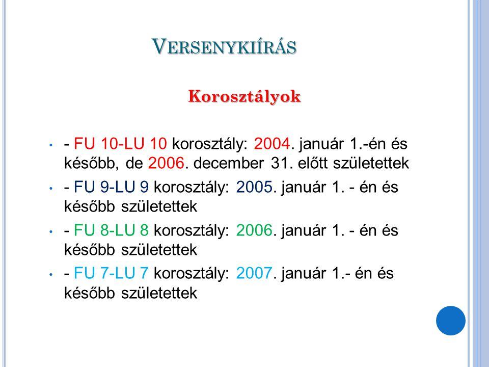 V ERSENYKIÍRÁS Korosztályok Korosztályok - FU 10-LU 10 korosztály: 2004. január 1.-én és később, de 2006. december 31. előtt születettek - FU 9-LU 9 k