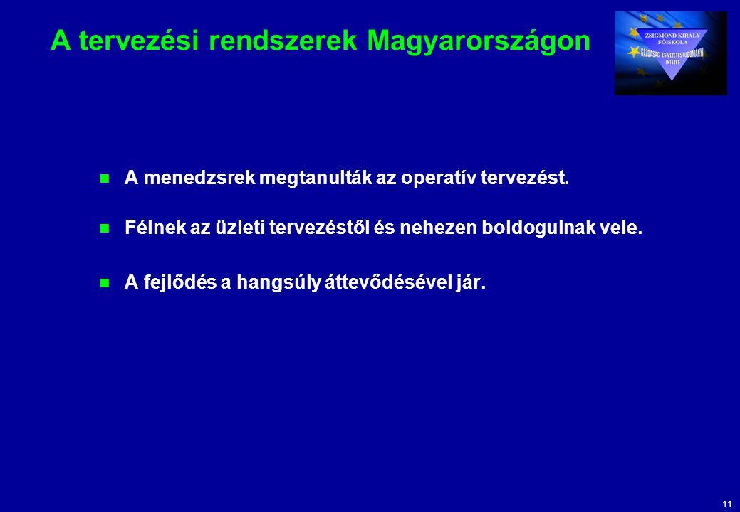 11 A tervezési rendszerek Magyarországon A menedzsrek megtanulták az operatív tervezést. Félnek az üzleti tervezéstől és nehezen boldogulnak vele. A f