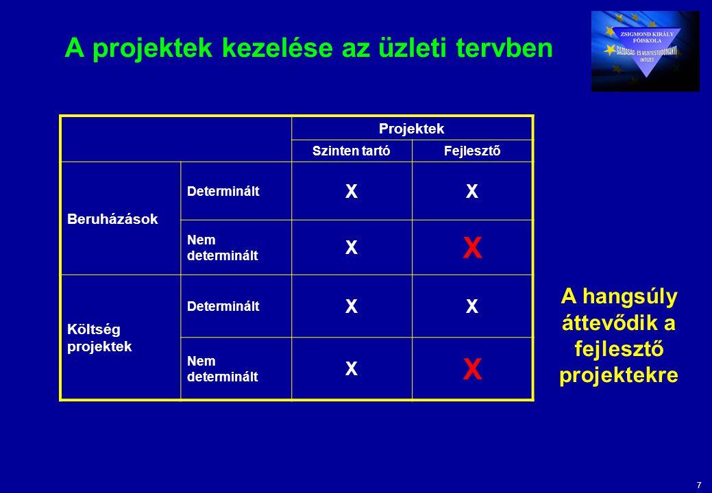 7 A projektek kezelése az üzleti tervben Projektek Szinten tartóFejlesztő Beruházások Determinált XX Nem determinált X X Költség projektek Determinált