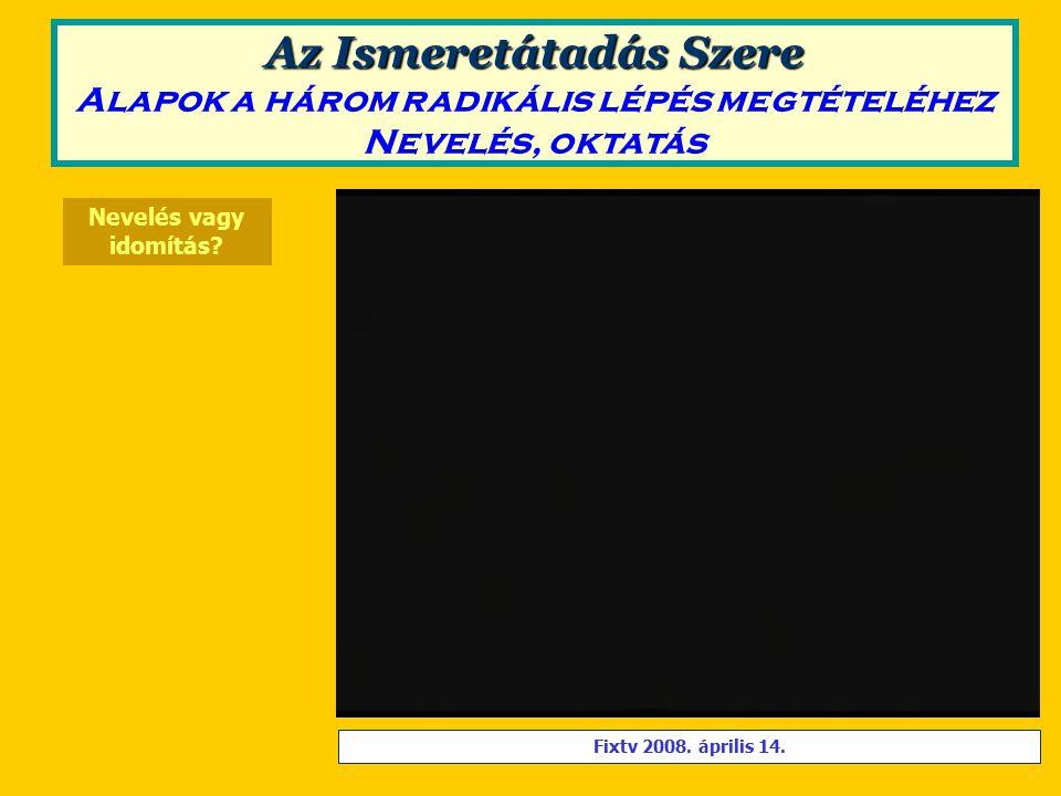Nevelés vagy idomítás. Fixtv 2008. április 14.