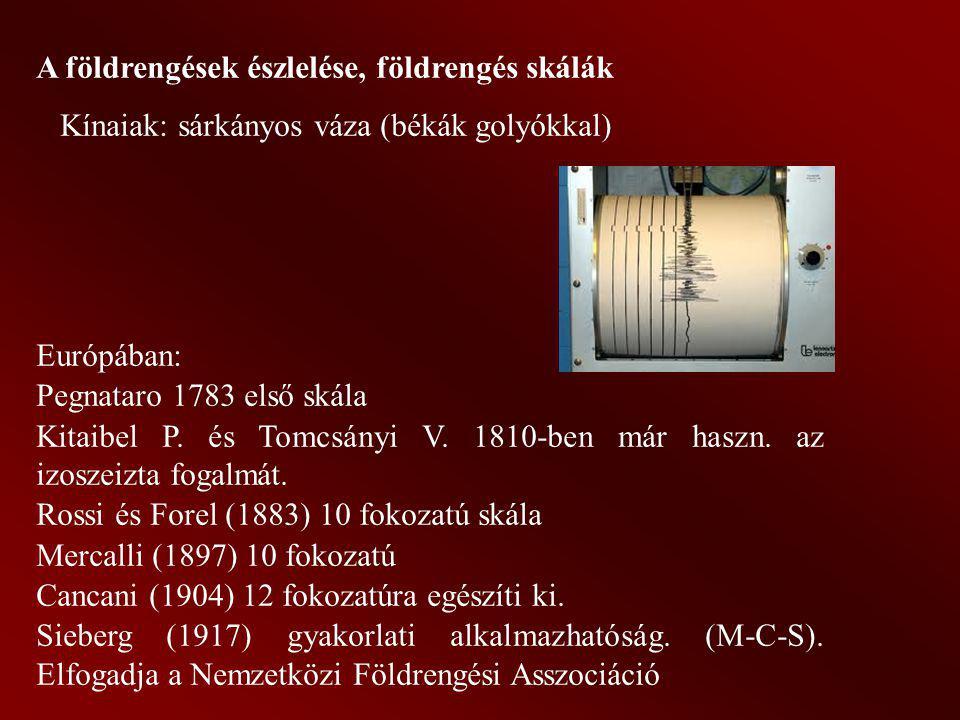 A földrengések észlelése, földrengés skálák Kínaiak: sárkányos váza (békák golyókkal) Európában: Pegnataro 1783 első skála Kitaibel P. és Tomcsányi V.
