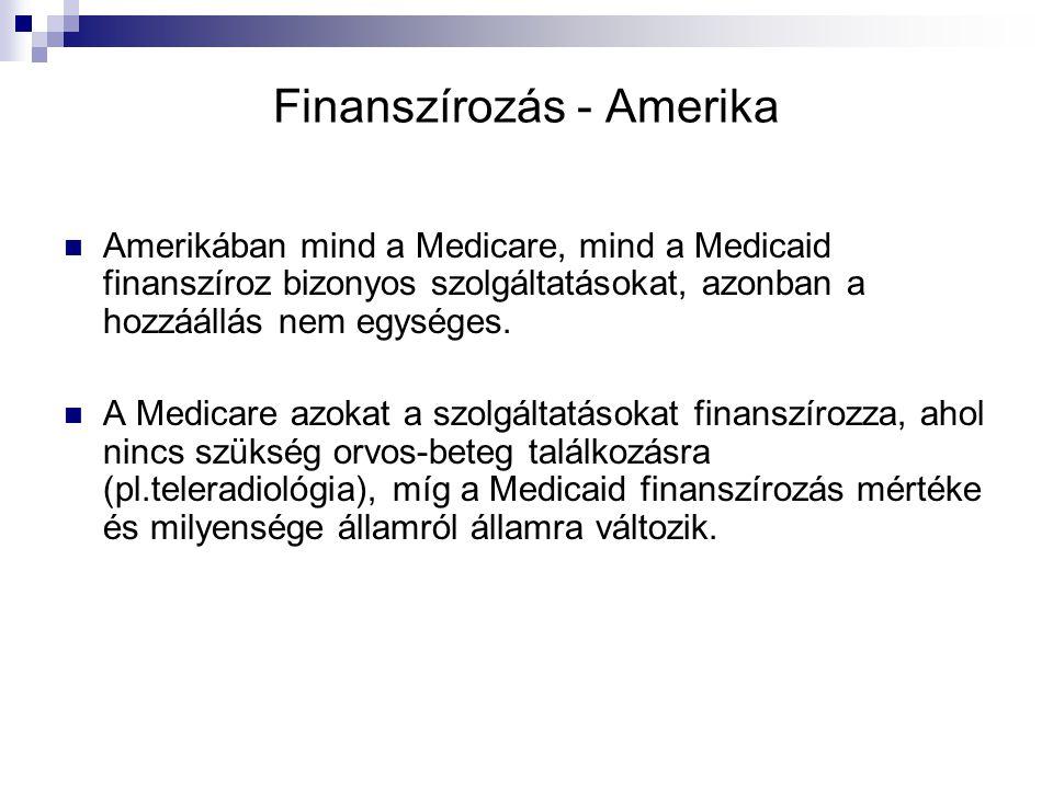 Finanszírozás - Amerika Amerikában mind a Medicare, mind a Medicaid finanszíroz bizonyos szolgáltatásokat, azonban a hozzáállás nem egységes. A Medica