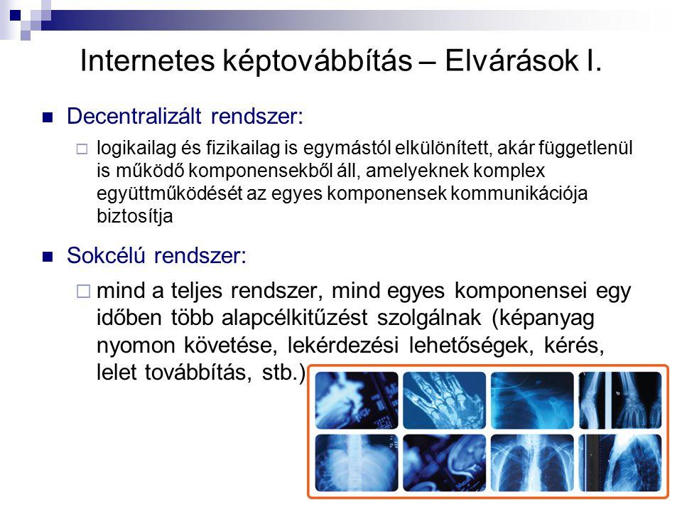 Internetes képtovábbítás – Elvárások I. Decentralizált rendszer:  logikailag és fizikailag is egymástól elkülönített, akár függetlenül is működő komp