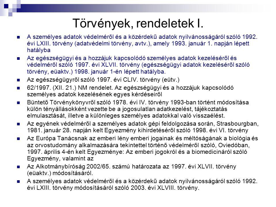 Törvények, rendeletek I. A személyes adatok védelméről és a közérdekű adatok nyilvánosságáról szóló 1992. évi LXIII. törvény (adatvédelmi törvény, avt