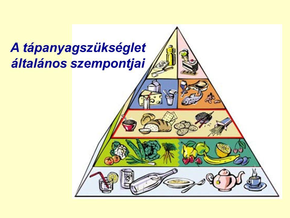 testtömegindex (Body Mass Index, BMI) BMI = T / M 2 = testtömeg (kg) / magasság (m 2 ) kívánatos érték: nők: 20,8 (18,7-23,8) férfiak: 22,0 (20,1-25) soványság 20 > súlyos alultápláltság 18 > testesség, elhízás 25 < (25-30 I.