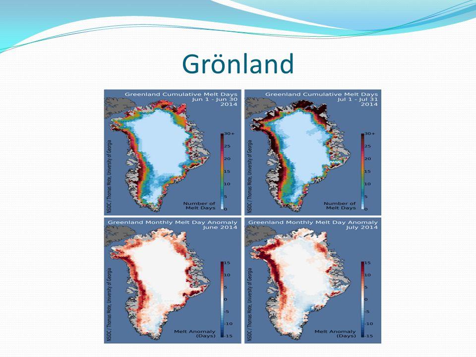 A szárazföldi jeges területek olvadása komoly veszélyt rejt magában  világtengerek szintjének emelkedése Ha Grönland jege teljesen felolvadna, mintegy 7 méterrel emelkedhetne meg az óceánok, tengerek vízszintje.