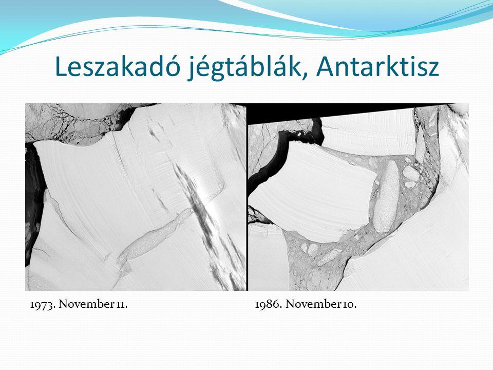 Leszakadó jégtáblák, Antarktisz 1973. November 11.1986. November 10.